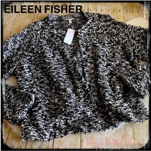 EILEEN FISHER Black White Boucle Textured Cardigan